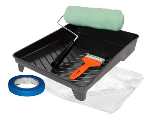 Imagen 1 de 6 de Kit Para Pintar: Rodillo, Brocha, Plastiprotector Y Masking