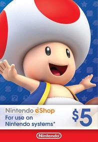 Cartão Nintendo 3ds Wii U Switch Eshop Ecash $5 Dolares Usa