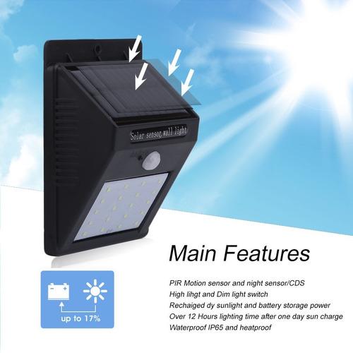 Lampara Luz 20 Led Recargable Solar Sensor Noche Nocturno 1a