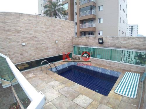 Cobertura  Triplex Com 4 Dormitórios À Venda, 640 M² Por R$ 1.200.000 - Macuco - Santos/sp - Co0188