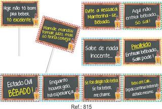 Kit Com 10 Plaquinhas Divertidas De Festa Boteco