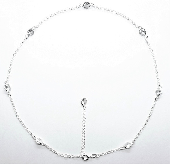 Colar Corrente Feminina Choker 40cm Prata Maciça 925 Ref.35