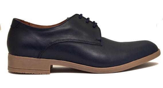 Zapatos Acordonado Hombre Cuero Azul, Base En Goma.