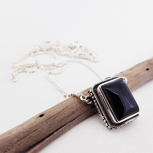 Colar Quartzo Negro, 50 Cm. Prata 925. Fp 61065701