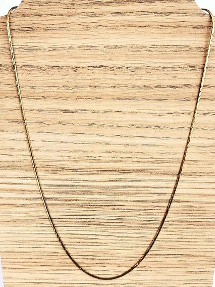 Gargantilha Cordão Fita 50cm Banhada De Ouro 18k 1234