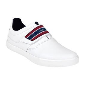 Calzado Juvenil Niño Tenis Tipo Piel Blanco Ajustable Comodo