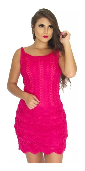 Vestido Curto Renda Crochê Tricot Trico, Blogueiras Ref: 431