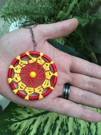 Chaveiro Filtro Dos Sonhos Croche Mandala Colorida Vermelho