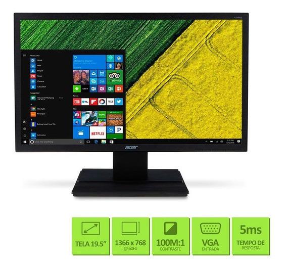 Monitor 19.5 Led 16:9 Lcd Widescreen Preto Acer V206hql Vga