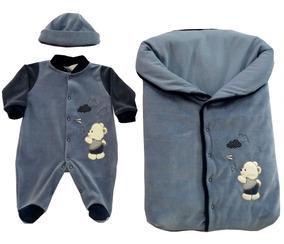 Saída Maternidade - Macacão + Saco Dormir Plush Urso/avião