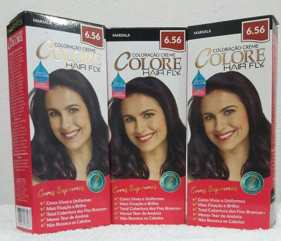 Colore Em Creme Coloração Perma.hair Fly Cor 6.56 C/3 Caixas