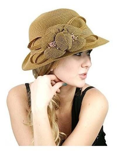 Nyfashion101 Sombrero Con Flor Tejida Para Dama Natural