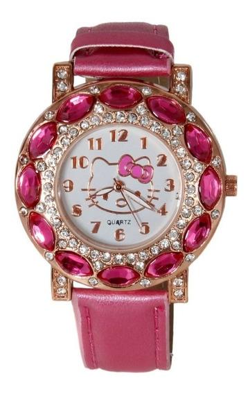 Relógio Infantil Hello Kitty Feminino Rosa Pink