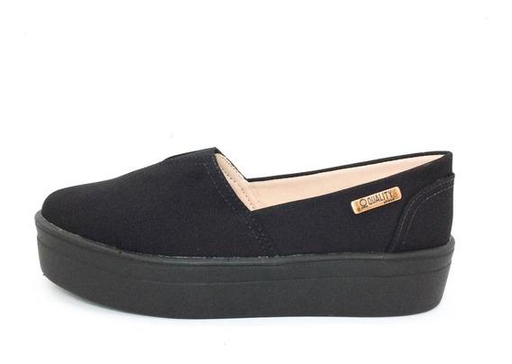 Tênis Flatform Quality Shoes Feminino 003 Lona Preta Sola Pr
