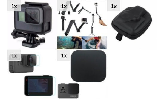 Kit Aventura Frame 3 Way Película Cover Hero 5 6 7 Black
