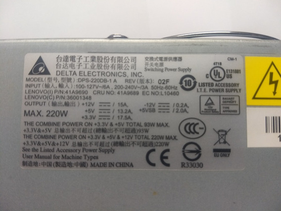 Fonte Desktop Lenovo Dps 220db Pn 41a9690 + 1 G Memória Ddr2