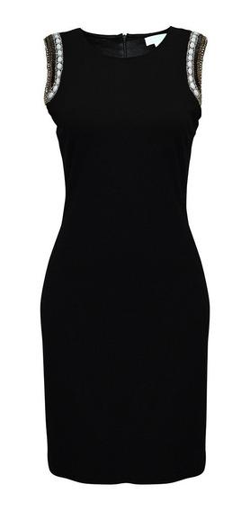 Vestido Sin Mangas C/ Aplicacion Dama Mujer Negro 5196 Zoara