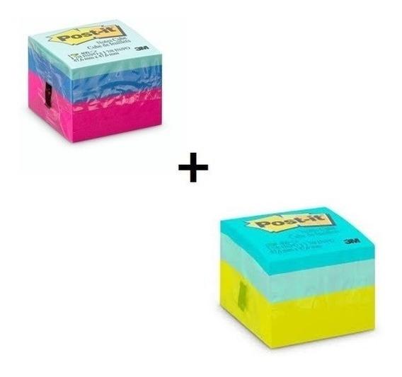 Bloco Adesivo Cubinho Post-it 3m C/2 Blocos C/400 Fls Cada.