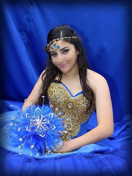 Vestido De Xv Años, Color Azul Rey. Dec, Bordado Dorado