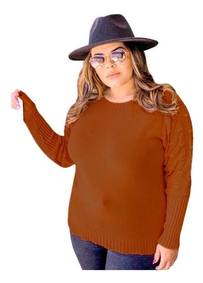 Blusas Plus Size Tamanho Maior Feminina Malha Tricot/tricô