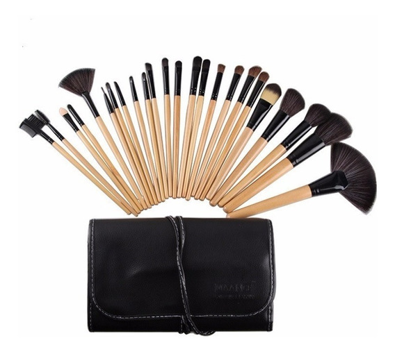 Kit De Pincel Maquiagem Profissional 24 Pcs C/estojo 5 Cores