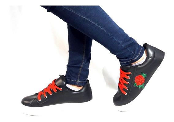 Sam123 Zapatillas Negra Talles Grandes Mujer Flor Oferta