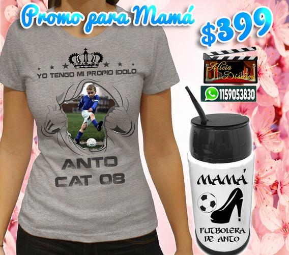 Remeras Mas Pacti-mate Personalizados Mamá Futbolera