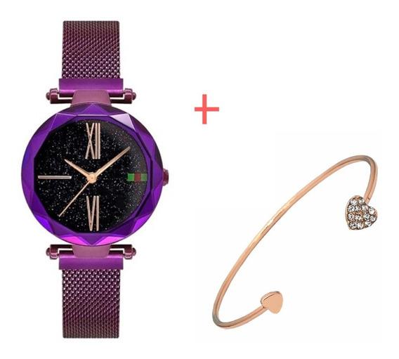 Relógio De Pulso Feminino Céu Estrelado + Pulseira Bracelete