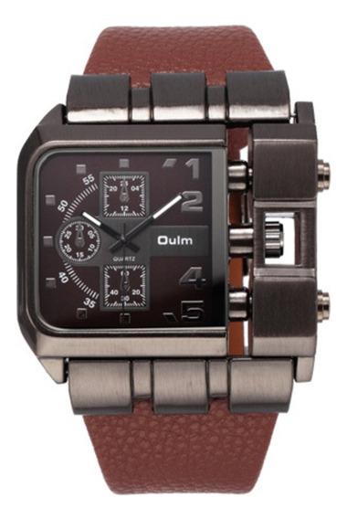 Oulm Luxo Relógio De Quartzo Masculino Pulseira De Couro Qua