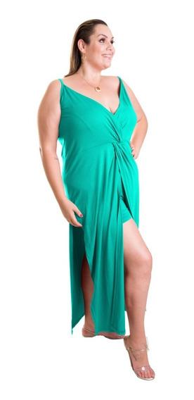Roupa Feminina Vestido Longo Com Fendas Frontais E Decote