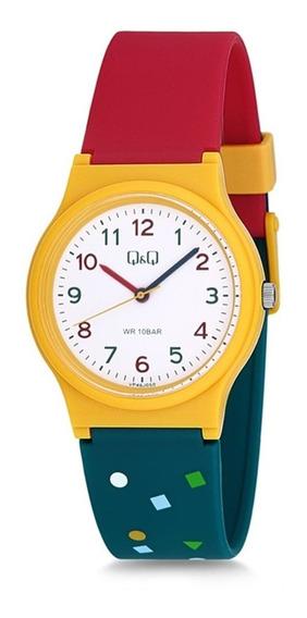 Relógio Infantil Amarelo,vermelho E Verde Q&q Prova D
