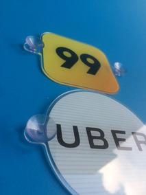 Par Display Suporte Adesivo Uber 99 Taxi Acrilico Ventosa