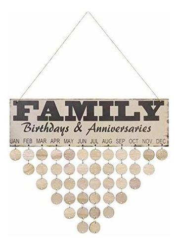 Imagen 1 de 7 de Vorcool Calendario De Cumpleaños Familiar Creativo De Madera