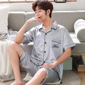 Masculino Pajama Sets Noite Roupa De Dormir Manga Curta