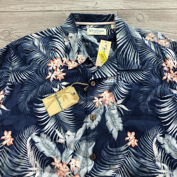 Caribbean Camisa Hawaiana Color Azul De Hombre Talla Xl