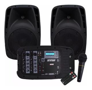 Combo Consola Novik 4 Canales Sd Usb Bluetooth + 2 Bafle 10