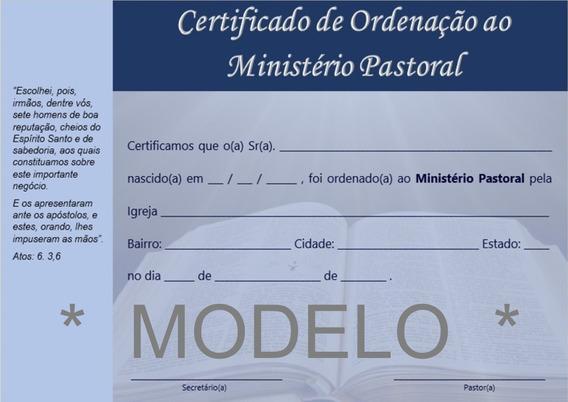 Certificado De Ordenação Pastoral - Frete Grátis
