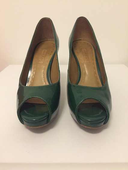 Peep Toe Arezzo Verniz Verde, Praticamente Novo, Número 33