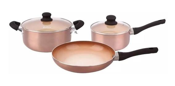 Bateria De Cocina Ceramica Antiadherente Hudson Set 5 Piezas