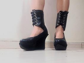 Sapato Feminino Preto Plataforma Couro Legítimo N° 37