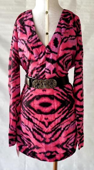 Vestido Chemise Pink Animal Print Tam 38
