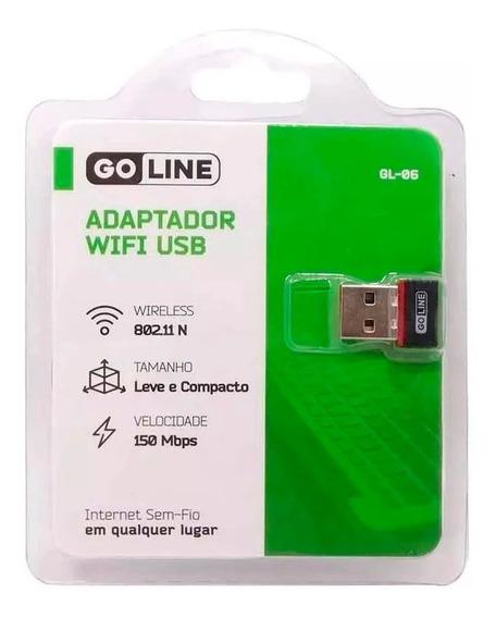 Adaptador Wireless Wifi P/ Receptores Usb Gl-06 150mbps