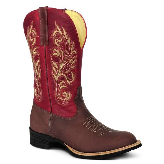 Bota Country Texana Couro Crazy Horse Fossil Cafe Vermelho