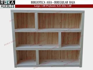 Biblioteca Asia Baja Irregular Pino 1.00x0.25x1.00