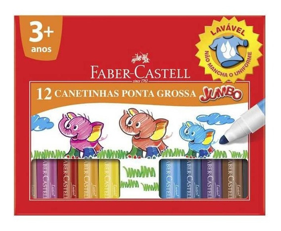Canetinha Jumbo 12 Cores Faber Castell