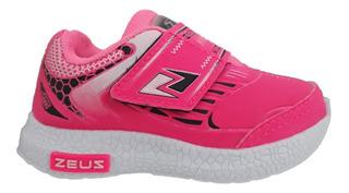 Tênis Menina Infantil Preto Pink Zeus 2905pp
