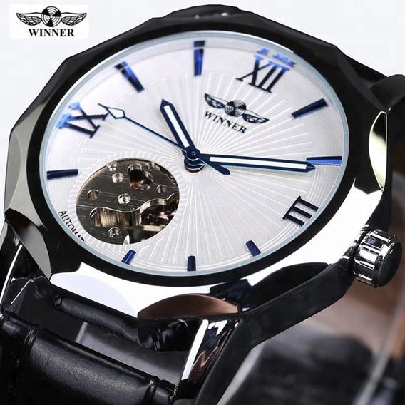 Reloj Mecanico Automatico Piel, Diseño Geometrico Gmt964