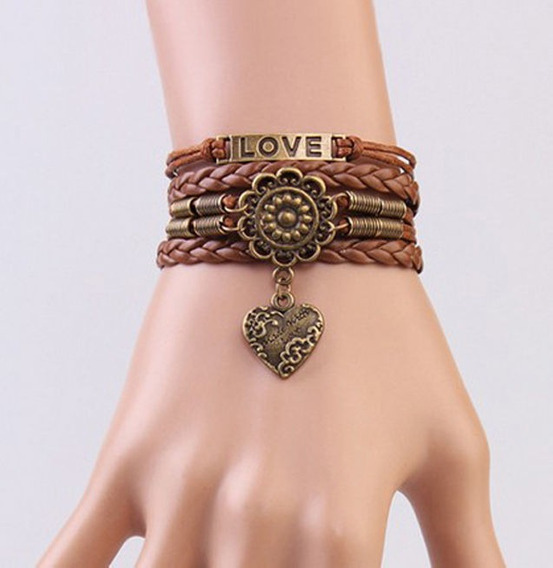 Pulseira Bracelete Em Couro - Marrom - Love - Feminina - 016