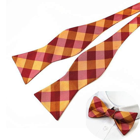 Lazo Pajarita Moño Bowtie Para Atar Rojo Con Naranja Adulto