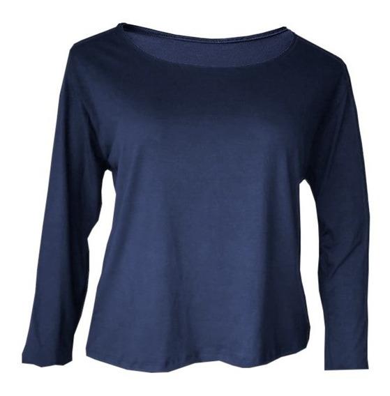 Blusa Camiseta Manga Comprida Feminina Plus Size Até G4 (58)